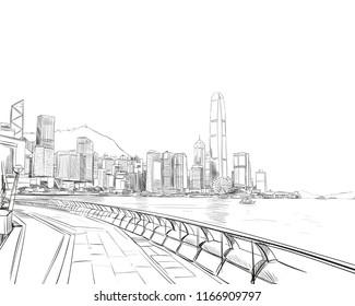 Hong Kong. China. Urban sketch. Hand drawn city, vector illustration