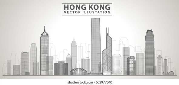 Hong Kong city. All buildings - customizable different objects with background fill, so you can change composition for your project. Line art.