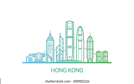Hong Kong city colored gradient line. All Hong Kong buildings - customizable objects with opacity mask, so you can simple change composition and background fill. Line art.