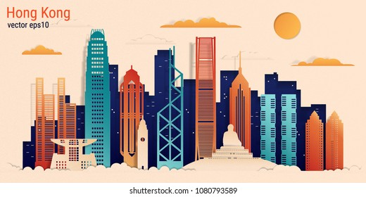 Hong Kong city colorful paper cut style, vector stock illustration. Cityscape with all famous buildings. Skyline Hong Kong city composition for design