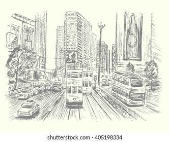 Hong Kong city scene with busy street,hand drawn,sketch style,isolated,vector,illustration.