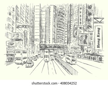 Hong Kong city scene,hand drawn,sketch style,isolated,vector.