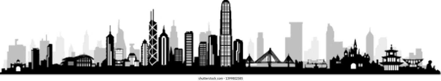 Hong Kong City Silhouette Skyline