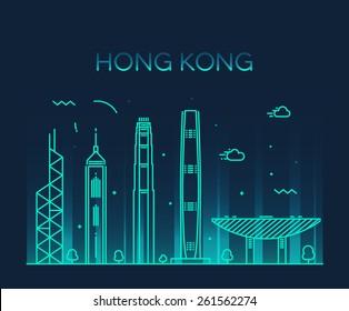 Hong Kong City skyline detailed silhouette. Trendy vector illustration, line art style.
