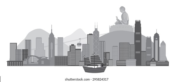 Hong Kong City Skyline with Iconic Junk Boat and Big Buddha Statue Panorama Grayscale Isolated on White Background Vector Illustration