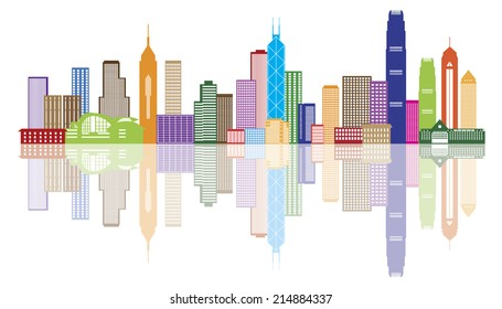 Hong Kong City Skyline Panorama Color Isolated on White Background vector Illustration