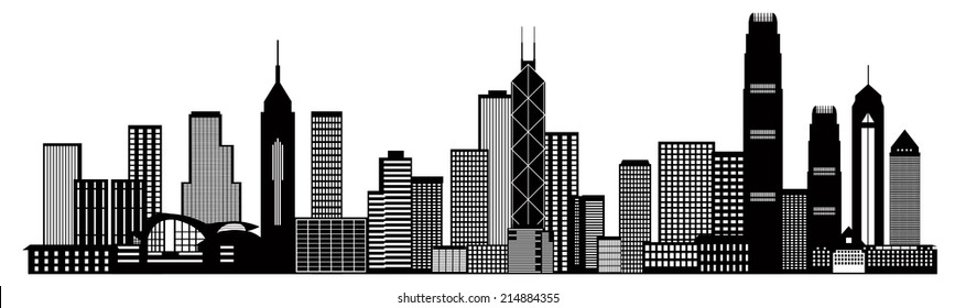Hong Kong City Skyline Panorama Black Isolated on White Background Vector Illustration