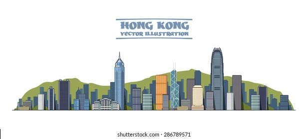 Hong Kong city skyline silhouette background, vector illustration