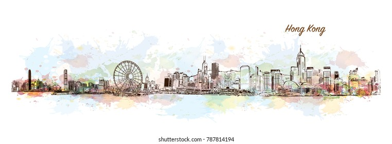 Hong Kong City Skyline. Watercolor splash with sketch in vector illustration.