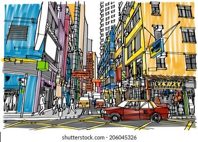 Hong Kong city street : sketchbook