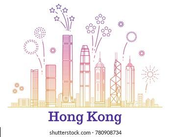 Hong kong city vector panorama with colorful festive fireworks. Hong kong building skyscraper illustration