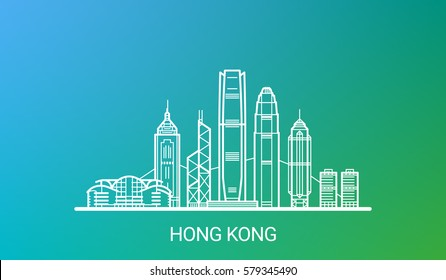 Hong Kong city white line on colorful background. All Hong Kong buildings - customizable objects with opacity mask, so you can simple change composition and background. Line art.