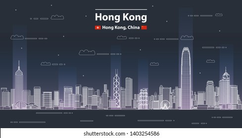Hong Kong cityscape line art style vector detailed illustration. Travel background