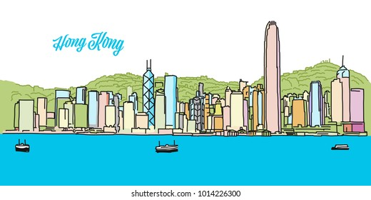 Hong Kong Colored Skyline Banner. Layout for Greeting Card and Banner Design. Marketing Sketch