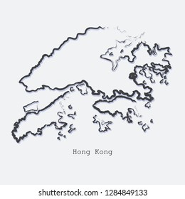 Hong Kong country map line shape. Brush style. Vector illustration