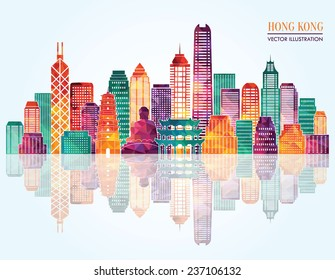 Hong Kong detailed silhouette. Vector illustration