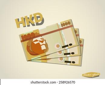 hong kong dollar money paper minimal vector graphic design