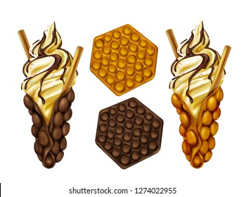 Hong Kong egg bubble waffles plain and served with biscuit in ice-cream, poured chocolate topping and sprinkles realistic vector isolated on white background. Popular street food bakery illustration