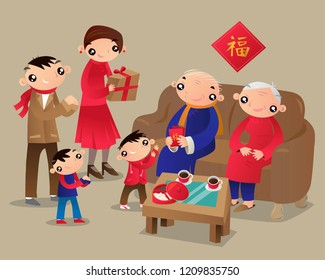 A Hong Kong family visits relatives' home during The Chinese New Year Festival.(Translation of a Chinese word: good fortune)
