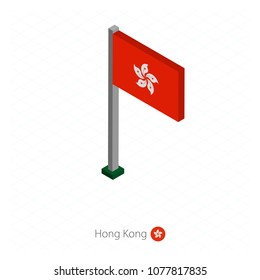 Hong Kong Flag on Flagpole in Isometric dimension. Isometric blue background. Vector illustration.