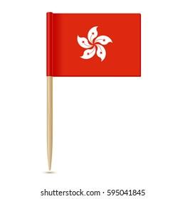 Hong Kong flag toothpick isolated on white background 10eps