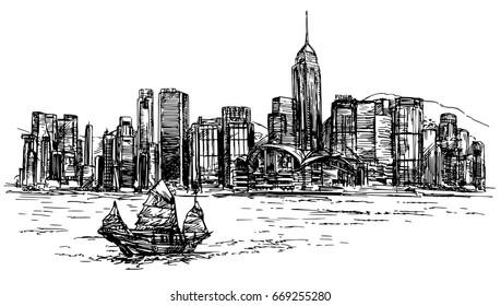 Hong Kong harbor, tourist junk. Hand drawn vector illustration.