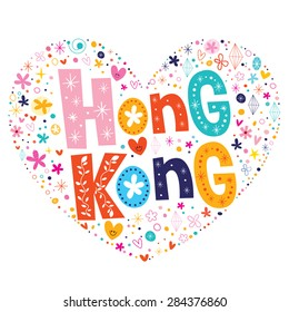 Hong Kong heart shaped type lettering vector design