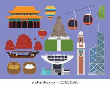 Hong Kong illustration, vector, travel, landmark, culture, food
