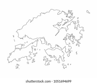 Hong Kong map outline graphic freehand drawing on white background. Vector illustration.