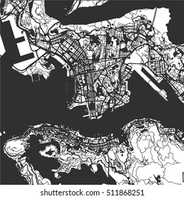 Hong Kong Monochrome Map, Vector Outline Version, ready for color change, Artprint, Separated On White