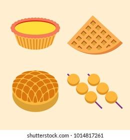Hong Kong native food - Egg tart, waffle, pineapple bun and fish ball