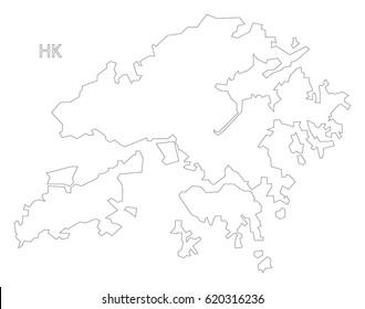 Hong Kong outline silhouette map illustration