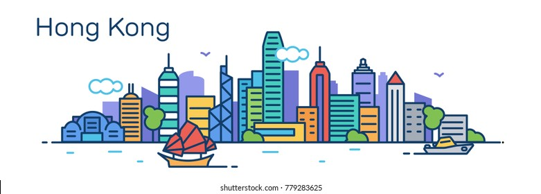 Hong Kong panorama city. Flat line style.Vector illustration