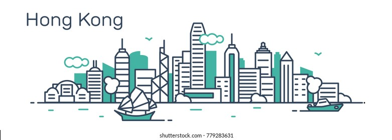 Hong Kong panorama city. Flat line style.Vector illustration