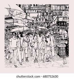 Hong Kong, people in a street - vector illustration