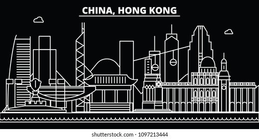 Hong Kong silhouette skyline. China - Hong Kong vector city, chinese linear architecture, buildings. Hong Kong travel illustration, outline landmarks. China flat icons, chinese line banner