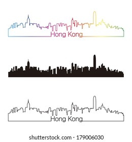 Hong Kong skyline linear style with rainbow in editable vector file