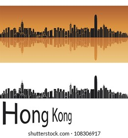 Hong Kong skyline in orange background in editable vector file