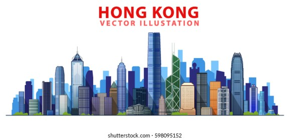 Hong kong skyline with panorama in white background. Vector Illustration. Business travel and tourism concept with modern buildings. Image for presentation, banner, web site.