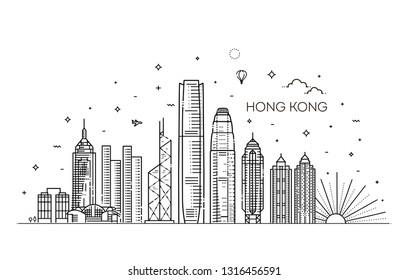 Hong Kong skyline, vector illustration in linear style
