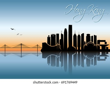 Hong Kong skyline - vector illustration