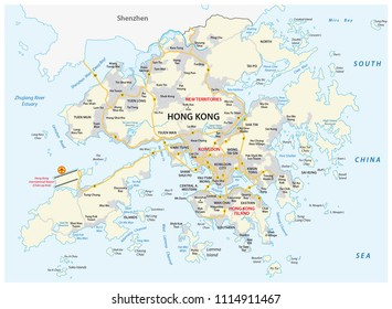Hong Kong Special Administrative Region of the People s Republic of China road vector map