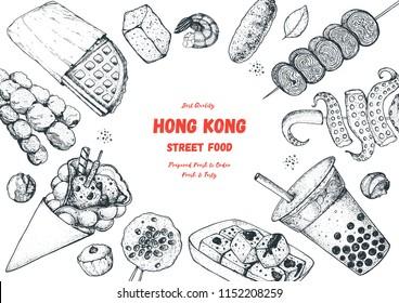 Hong kong street food frame. Chinese food menu design template. Engraved style illustration. Asian street food sketch.  Vintage hand drawn sketch, vector illustration.