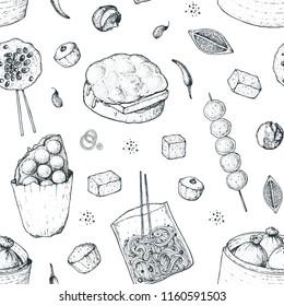 Hong kong street food. Seamless pattern. Chinese food menu design template. Engraved style illustration. Asian street food sketch. Vintage hand drawn sketch, vector illustration.