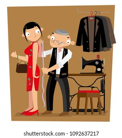 A Hong Kong tailor gets length measurement of his client