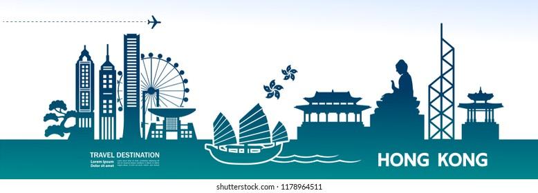 Hong Kong Travel Destination Vector.