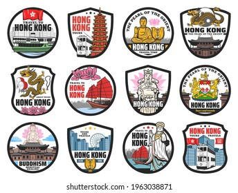 Hong Kong travel landmarks icons. Vector ferryboat, doubledecker tram and junk boat, Buddha, golden bauhinia flower and Hong Kong dragon, god of fortune, sea goddess and coat of arms, Buddhist temple