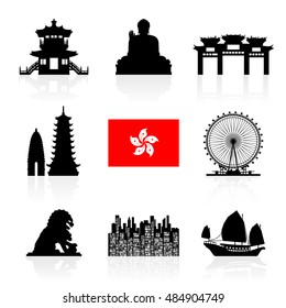 Hong Kong Travel Landmarks. Vector and Illustration