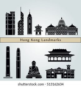 Hong Kong V2  landmarks and monuments isolated on blue background in editable vector file