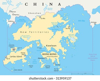Hong kong map imgenes pagas y sin cargo y vectores en stock hong kong and vicinity political map world financial centre and special administrative region in guangdong gumiabroncs Gallery